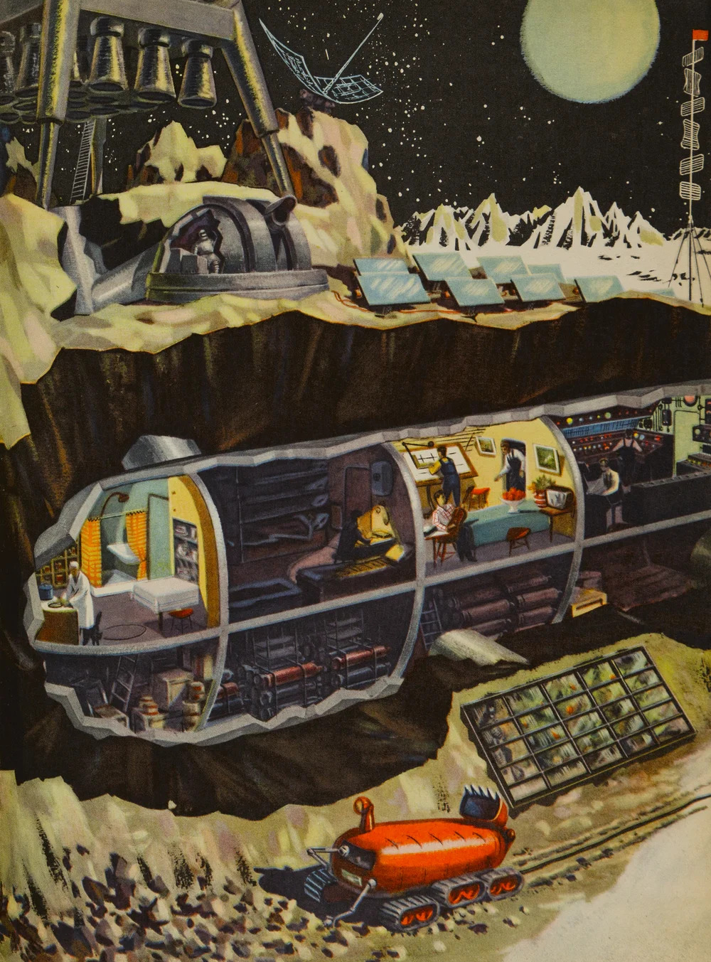 An illustration showing an imaginary scene from a space station on the Moon