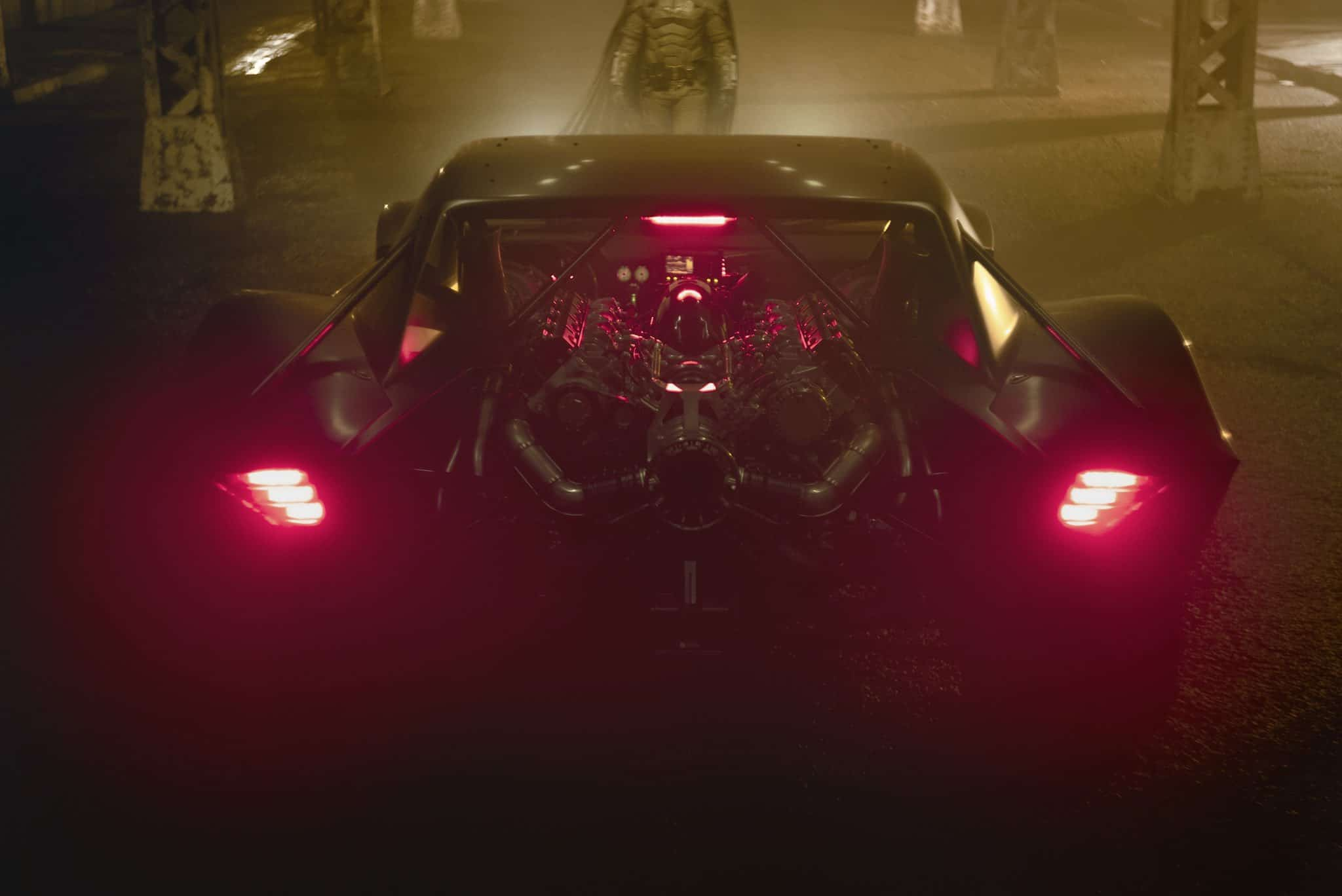 A dimly-lit picture of the interior of the Batmobile