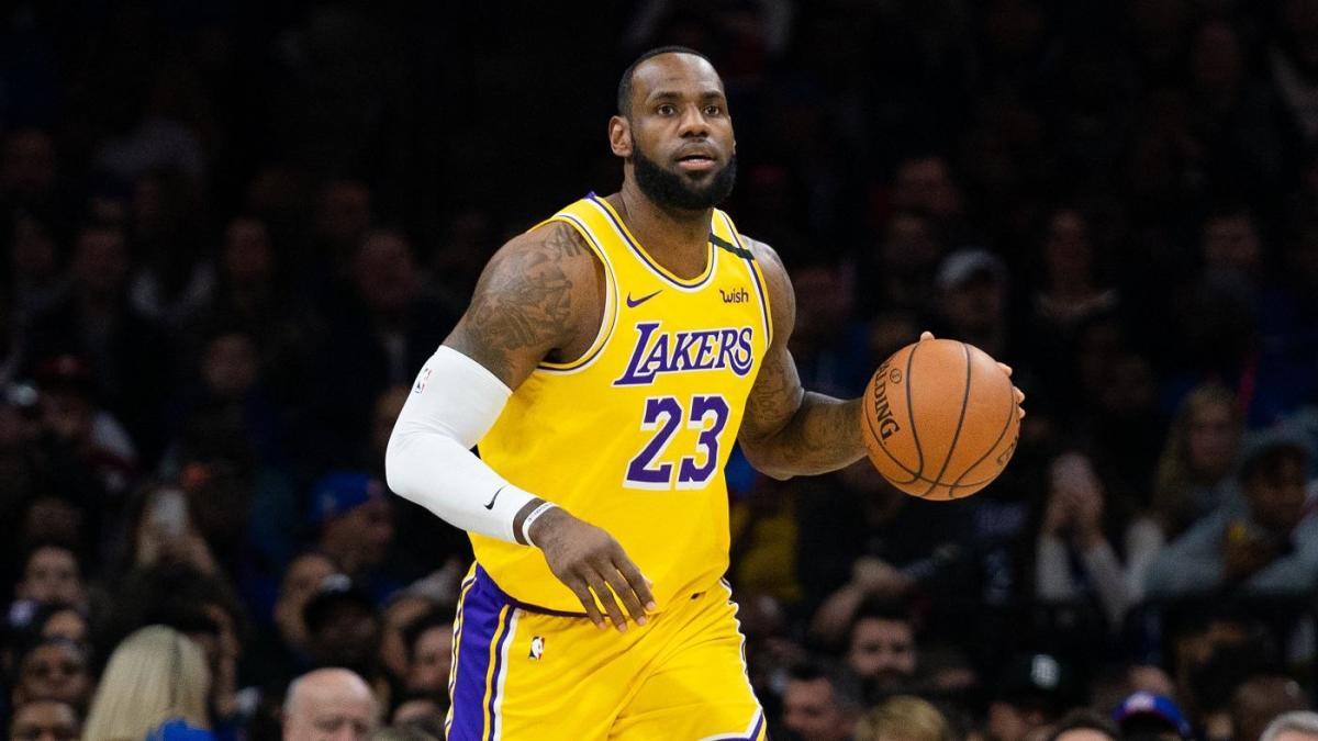 Jan 25, 2020; Philadelphia, Pennsylvania, USA; Los Angeles Lakers forward LeBron James (23) dribbles against the Philadelphia 76ers during the first quarter at Wells Fargo Center.