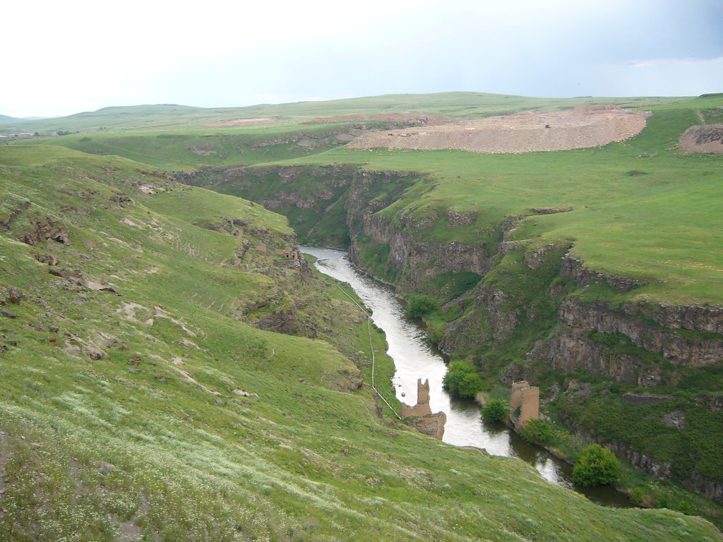 The gorge between the borders of Armenia and Turkey where there is a broken ancient bridge in the middle
