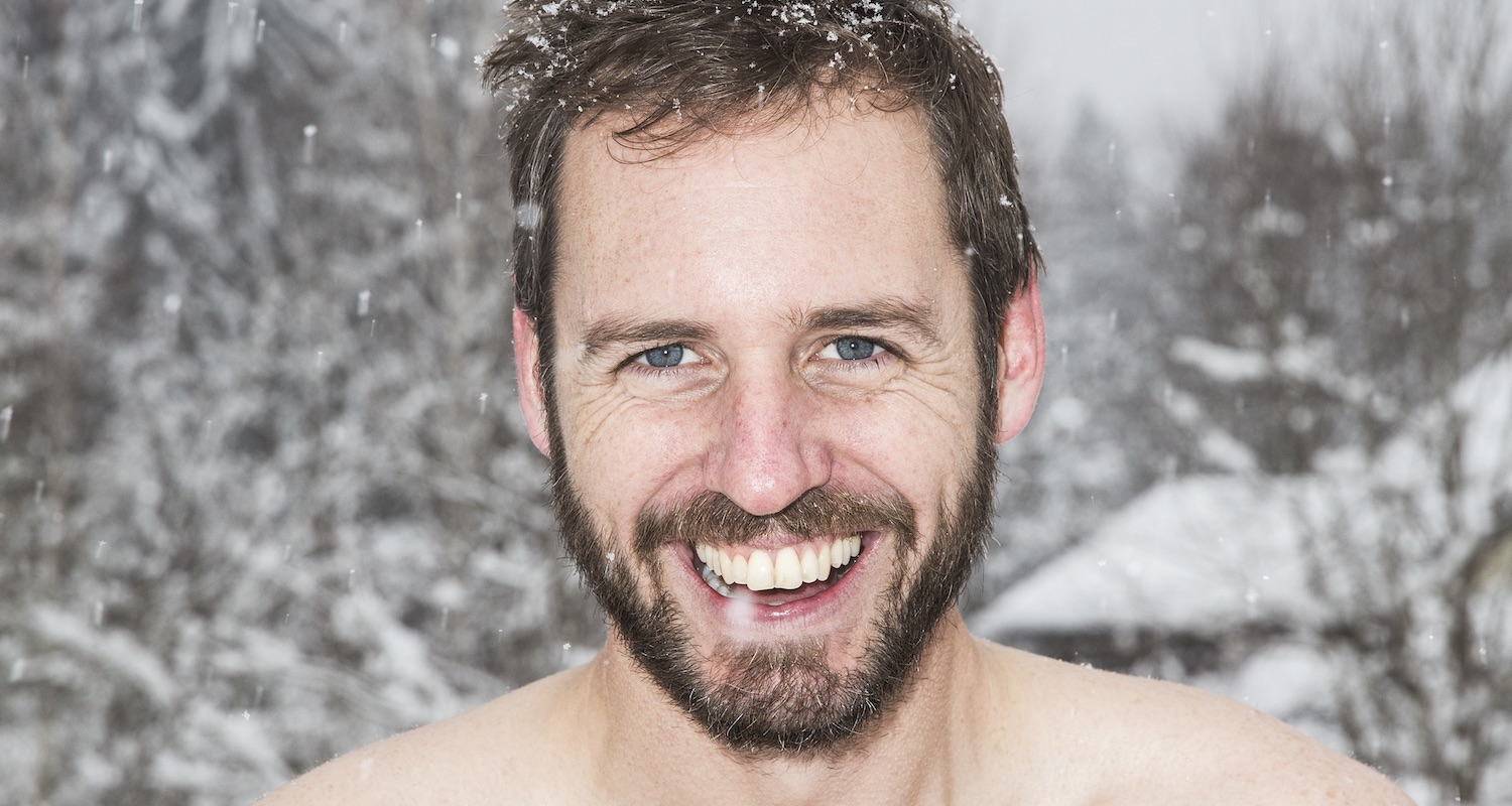 Close-up of Scott Carney naked in the snow