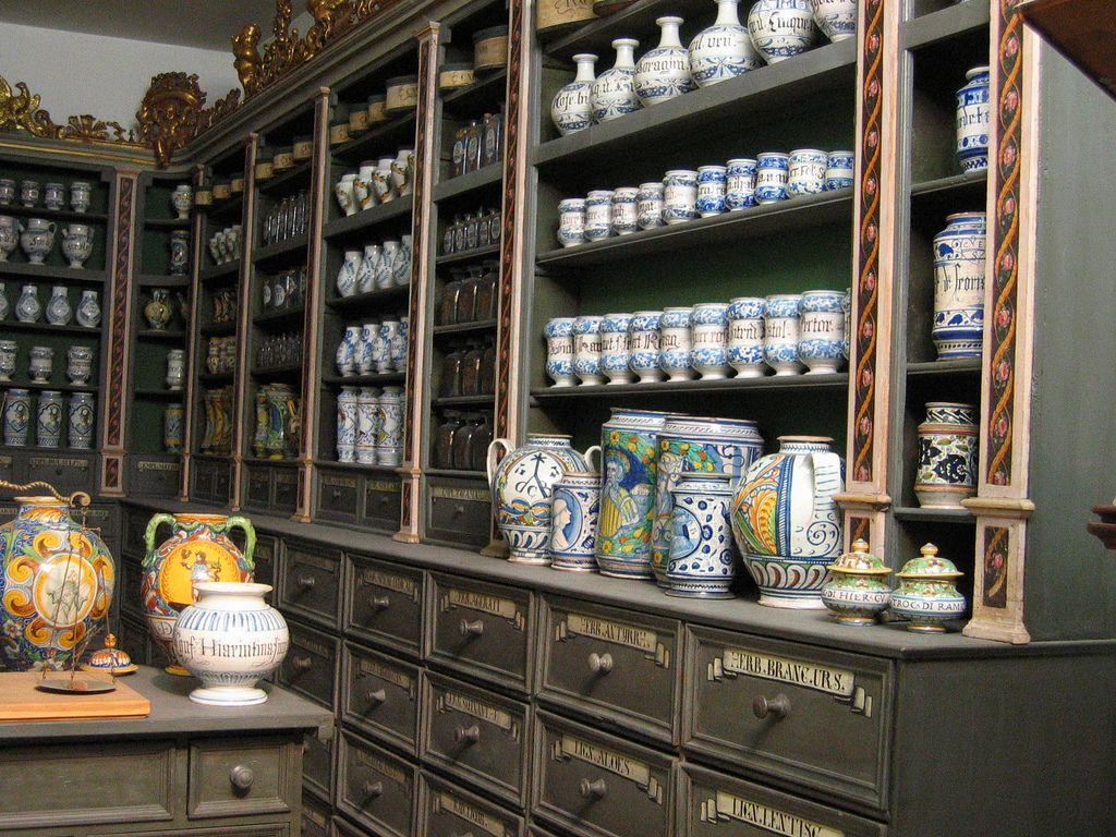 16th century apothecary shelf