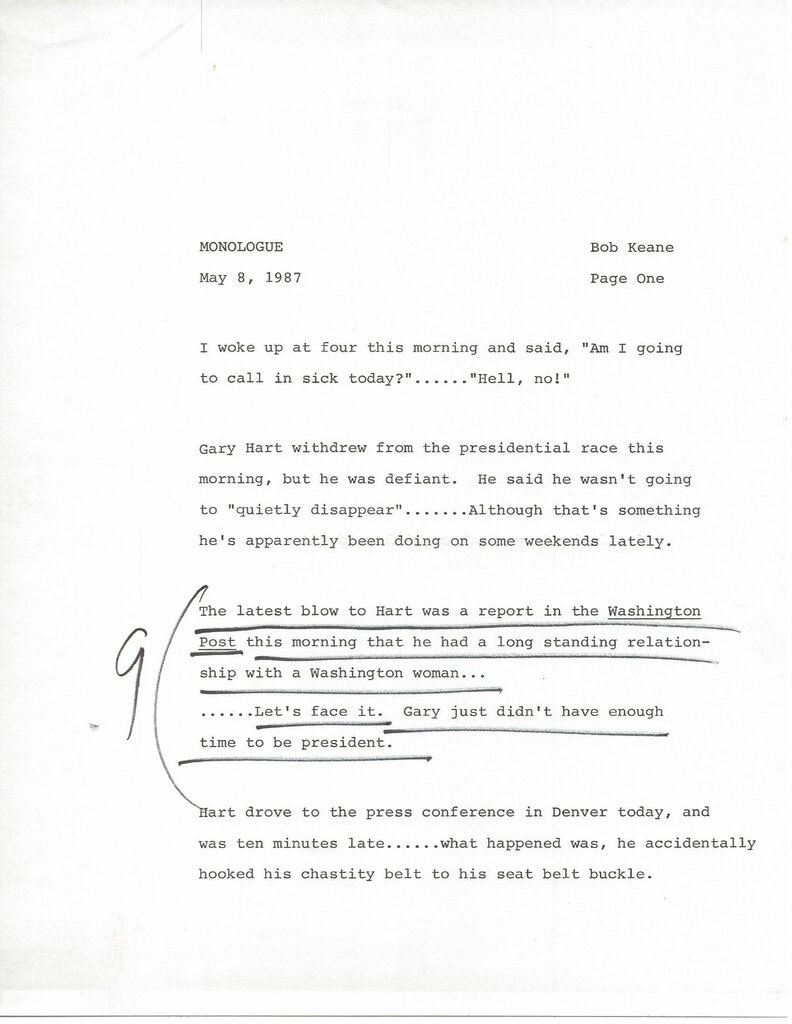 Page one of his May 8, 1987 episode monologue with handwritten notes