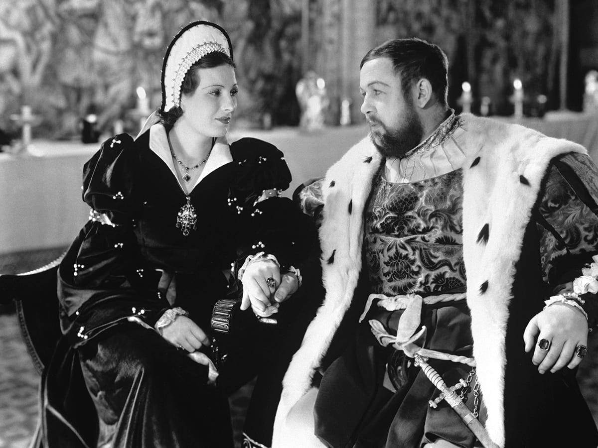 A scene from The Private Life of Henry VIII (1933) with King Henry VIII and Anne Boleyn