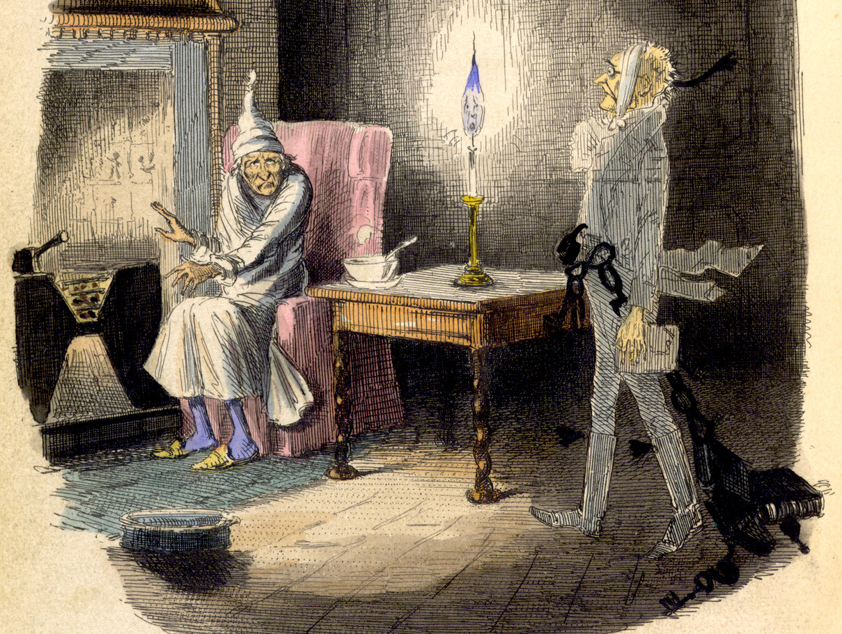 Ebenezer Scrooge and the ghost of Jacob Marley