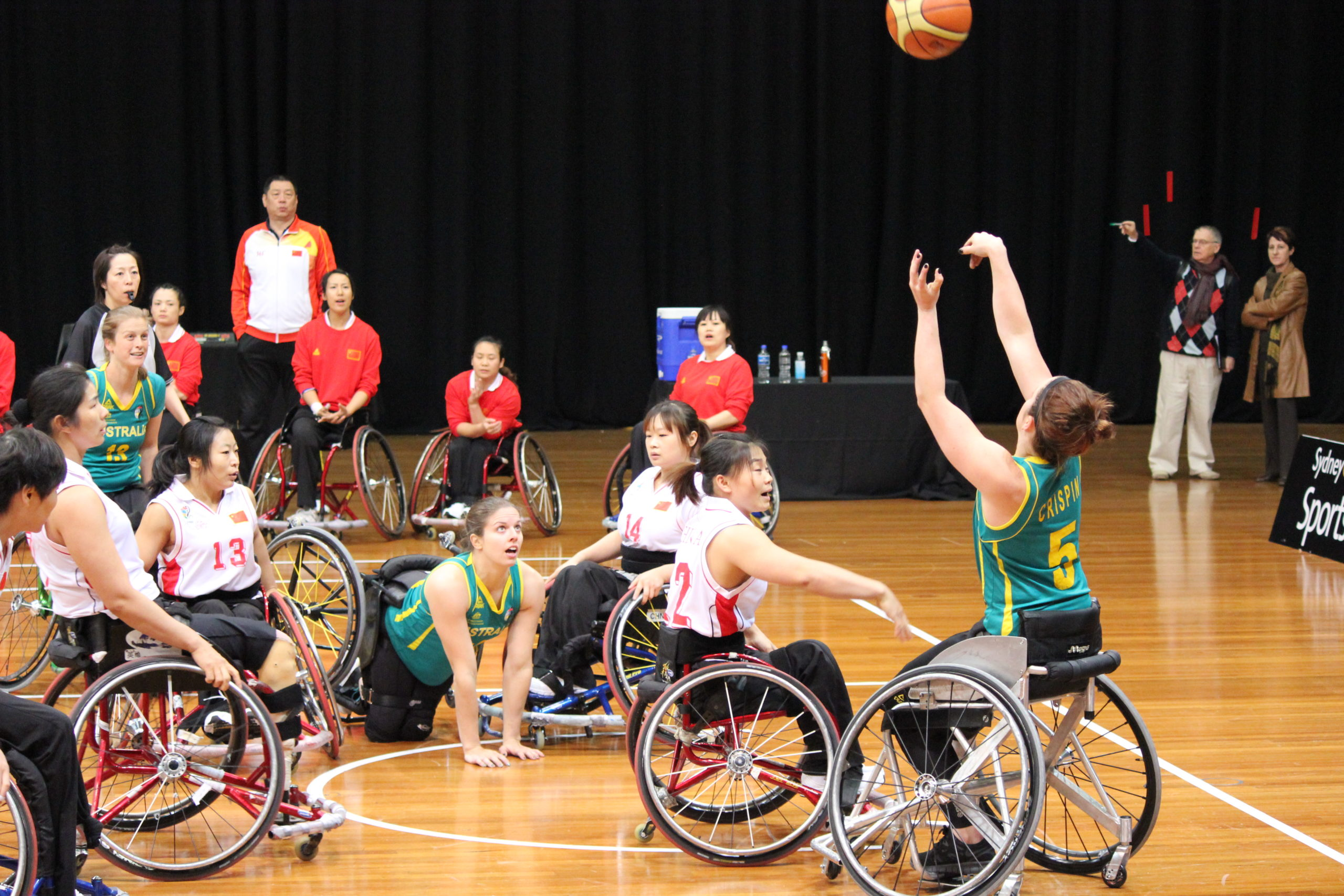 Australia women's national wheelchair basketball team versus China women's national wheelchair basketball team on 20 July 2012 at Sydney Olympic Park.