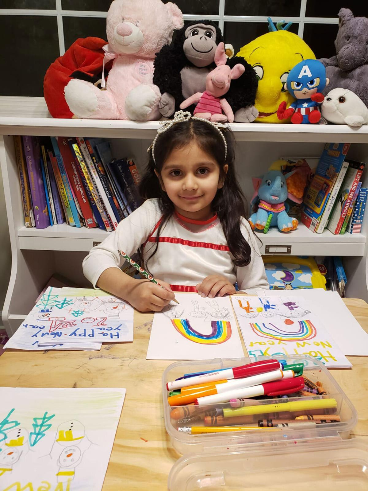 Aryana Chopra making New Year's Cards