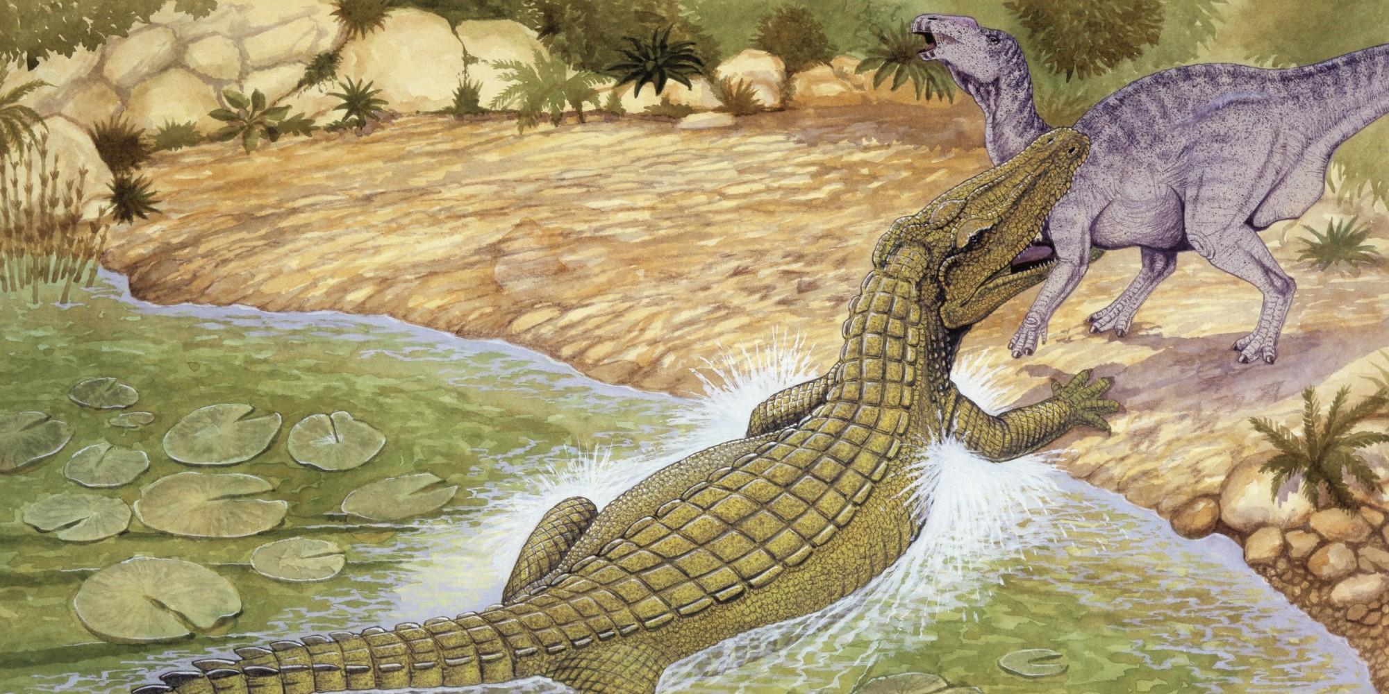 Illustration of Deinosuchus catching prey
