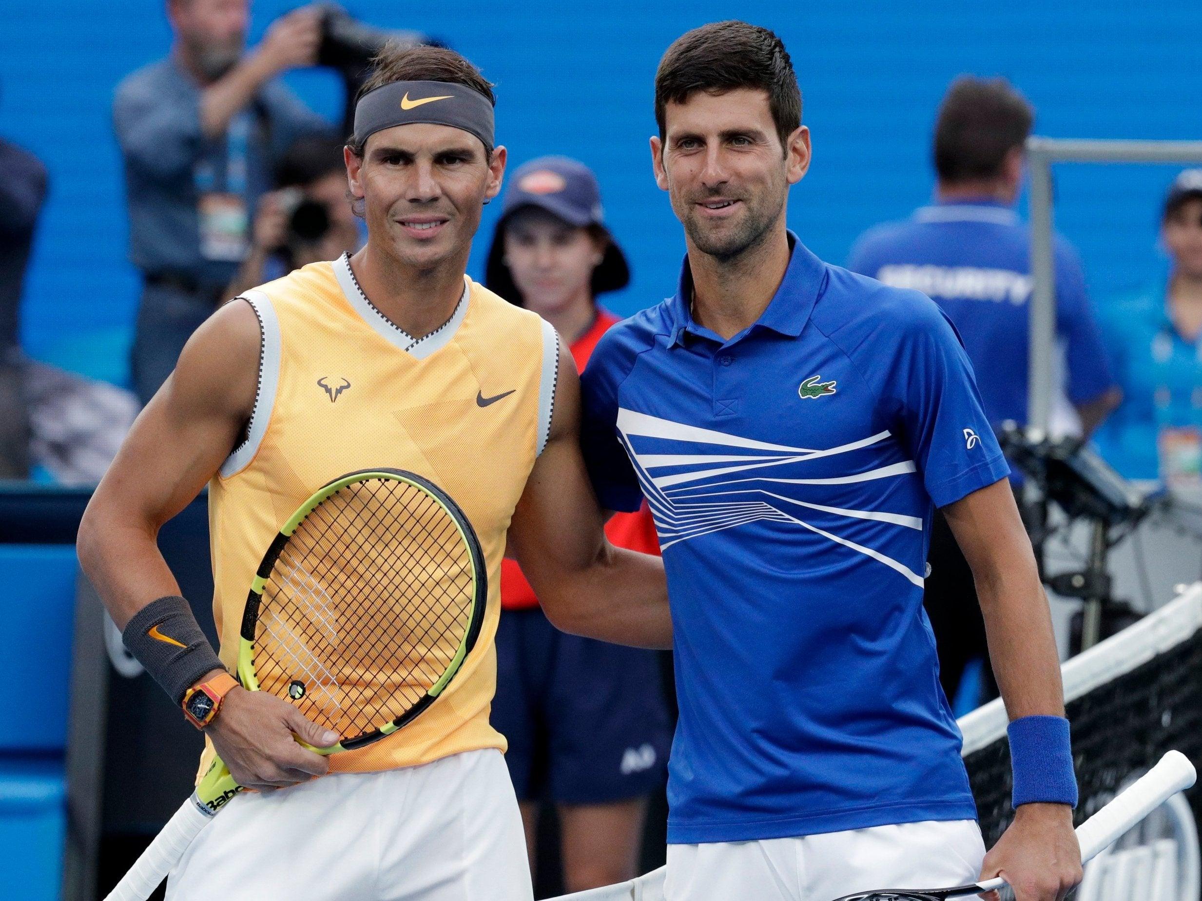 Rafael Nadal and Novak Djokovic during Australian Open 2019