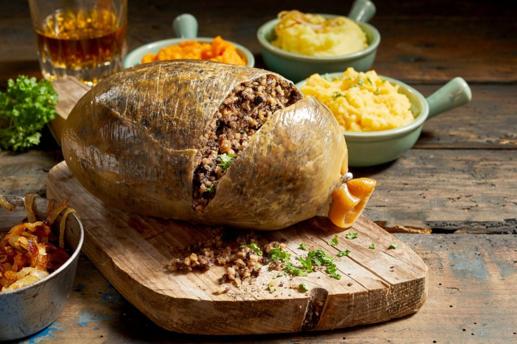 Haggis Presented on a Wooden Board