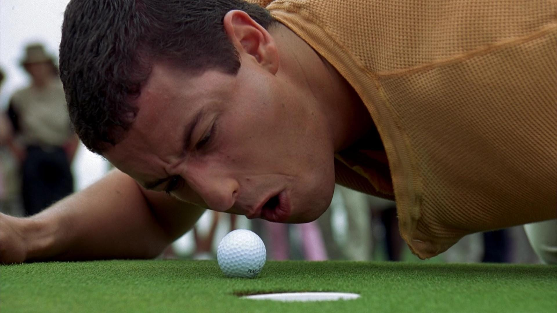 Iconic golf scene from the movie Happy Gilmore with Adam Sandler
