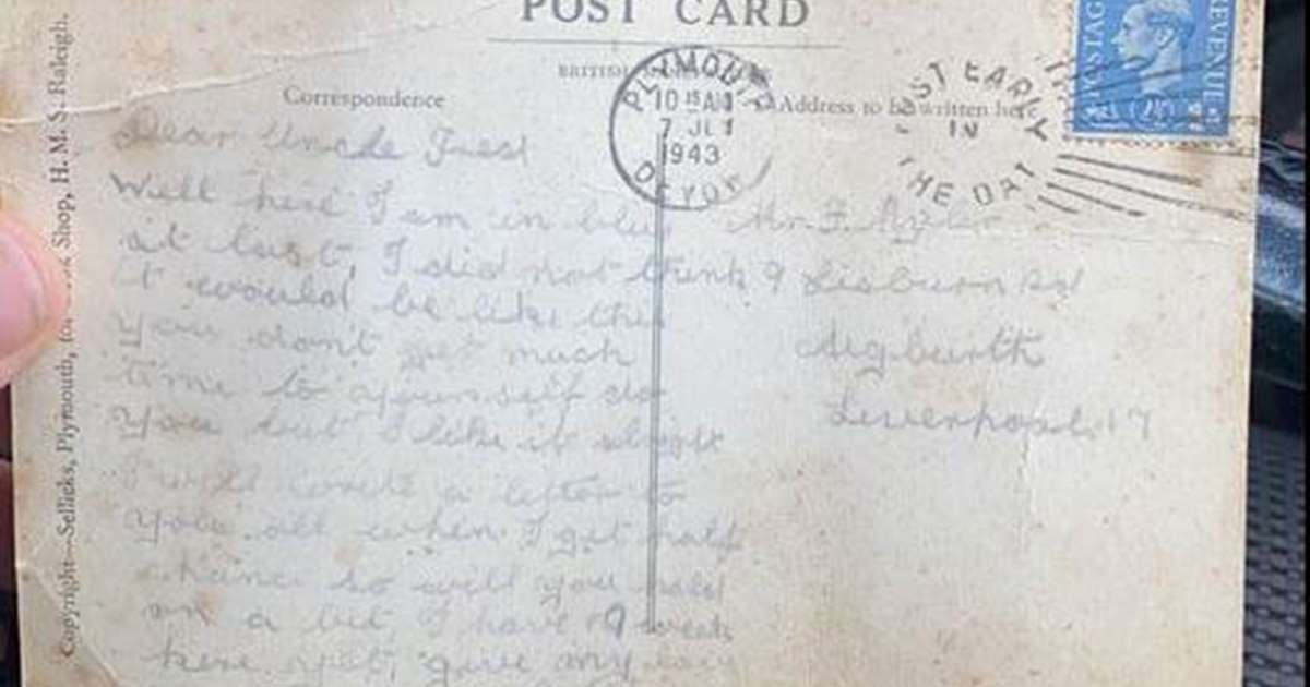 The postcard written by Bill Caldwell in 1943.