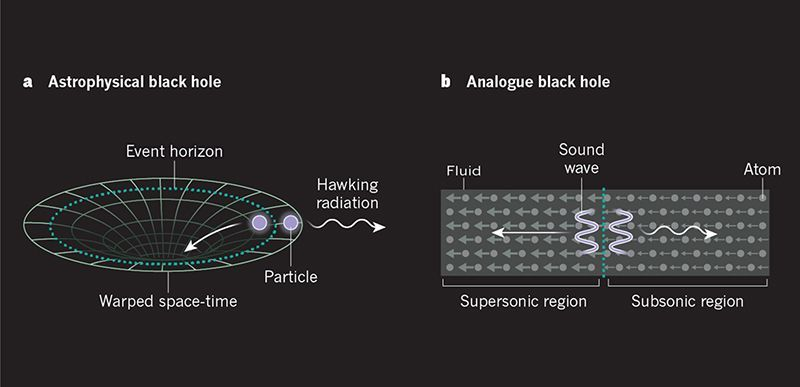 Analog black holes mimic the behavior of their celestial counterparts by trapping sound waves behind the equivalent of an event horizon.
