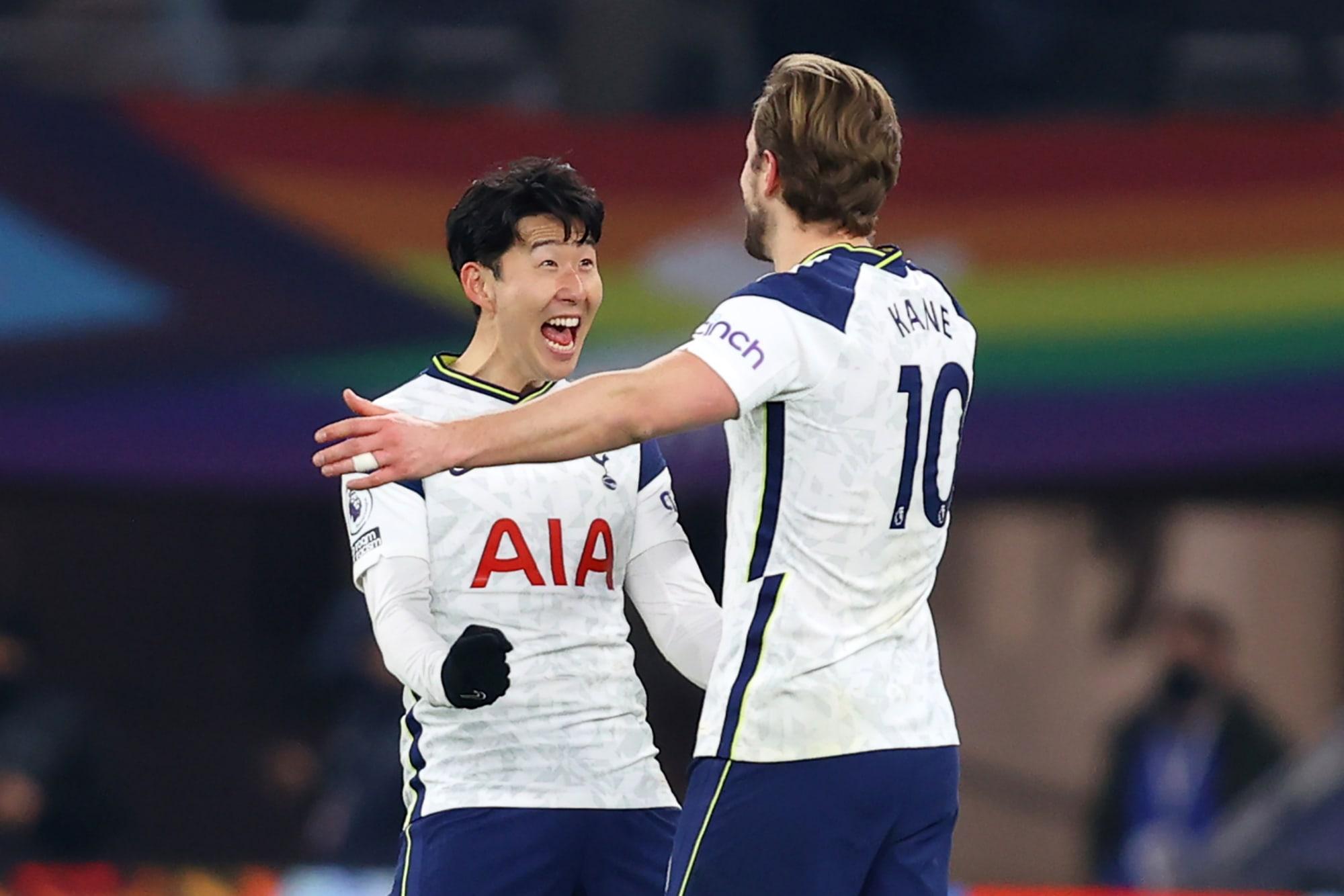 Tottenham star forwards Harry Kane and Son Heung-min celebrating a goal