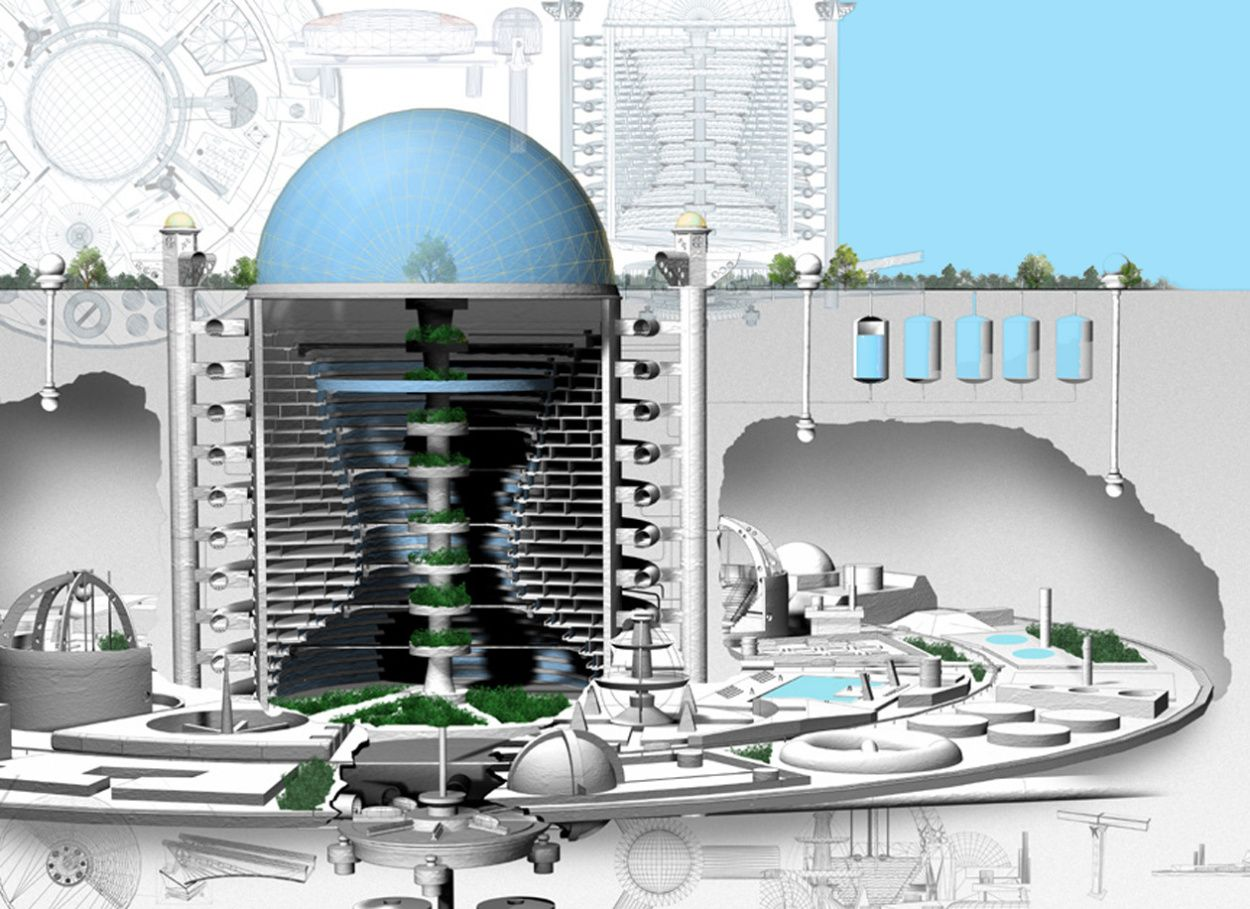 A depiction of how an underground city would look like in the future