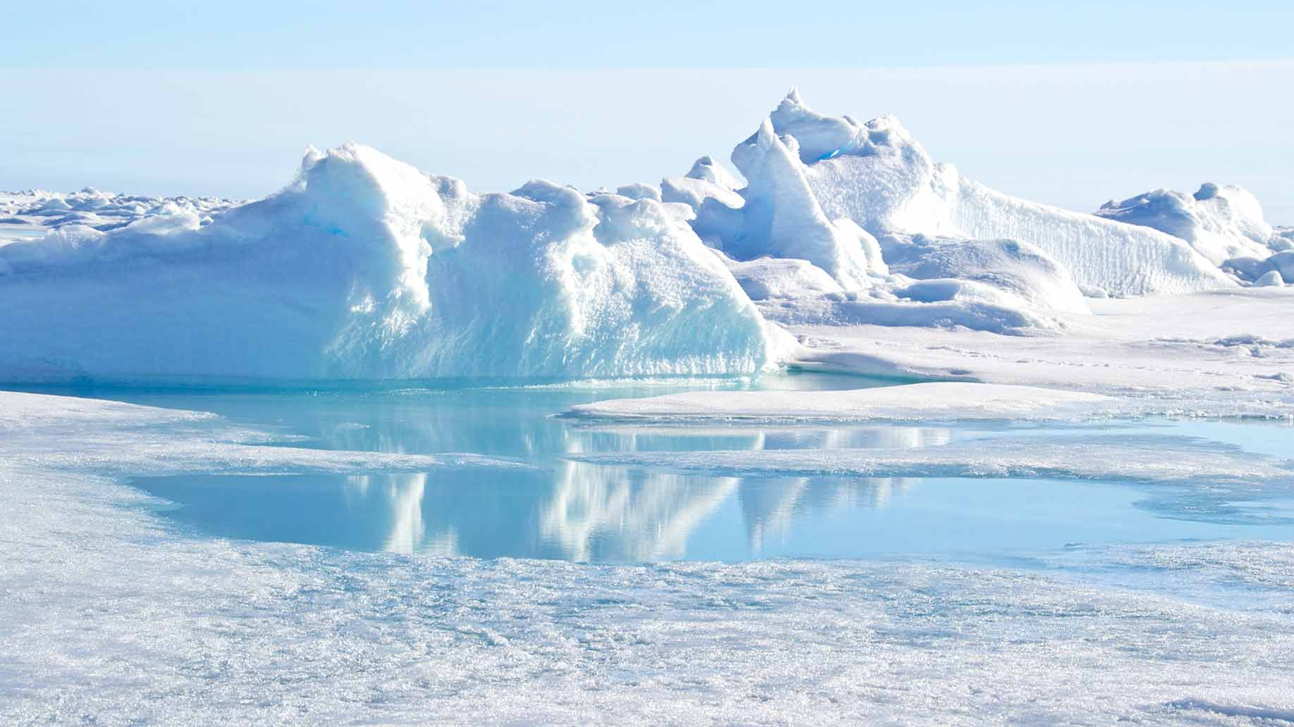 The landscape of the North Pole, the world's northernmost point.